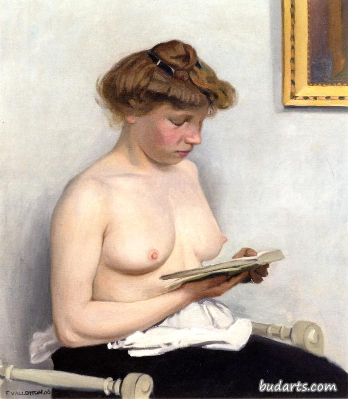 Woman with Nude Torso, Reading