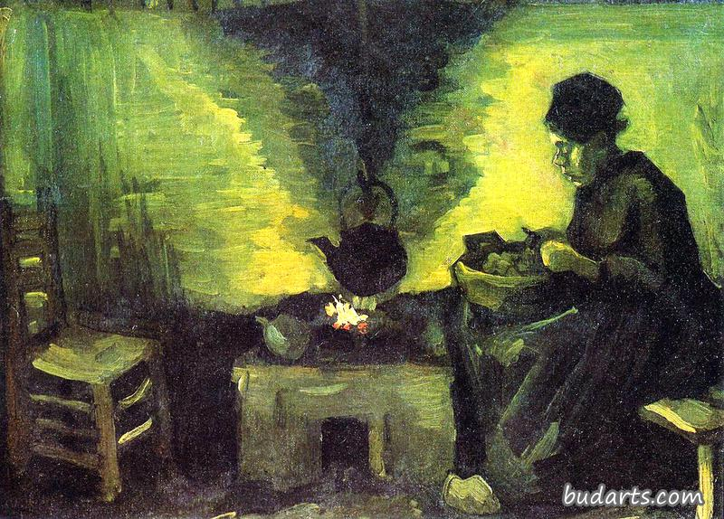 Peasant-woman sitting at the Hearth-fire