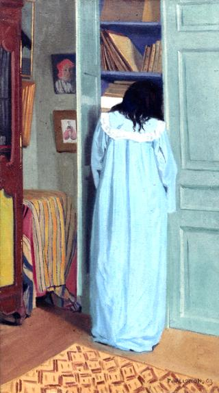 Interior, Woman in Blue Searching in a Cupboard