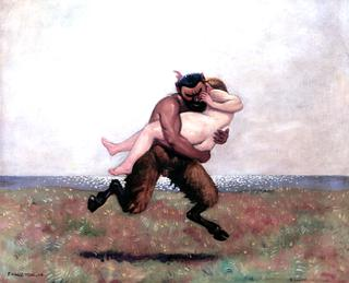 Galloping Satyr Abducting a Woman