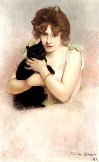 Young Ballerina Holding A Black Cat