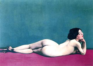 Reclining Nude on a Red Carpet