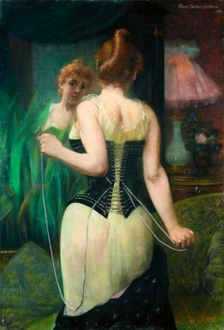 Young woman adjusting her corset before mirror