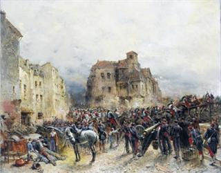 Army Advancing Through a Ruined Town